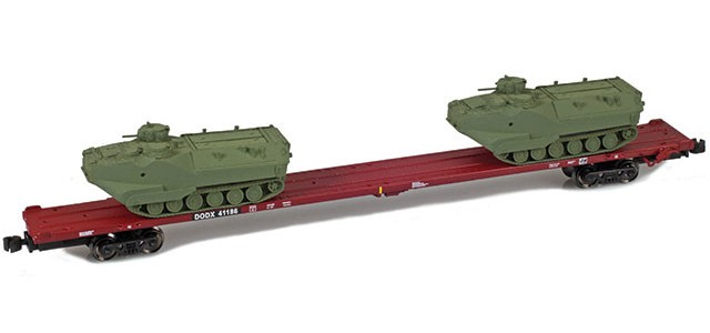 AZL 911023-4O DODX 89' Flat Car w/ Z-Panzer (2) AAV-7 Loads | Olive #41186
