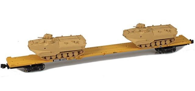 AZL 911024-4S DODX 89' Flat Car w/ Z-Panzer (2) AAV-7 Loads | Sand #42116