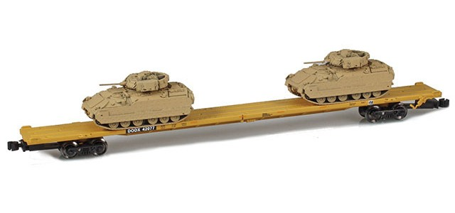 AZL 911024-1 DODX 89' Flat Car w/ Z-Panzer (2) M2A2 Loads | Sand #42077