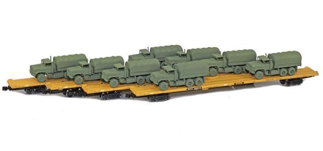 AZL 901510-5OA RTTX 89' Flat Cars w/ Z-Panzer (8) M923 Loads | Olive | 4-Car Set
