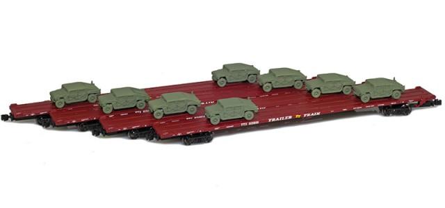 AZL 901510-6OC RTTX 89' Flat Cars w/ Z-Panzer (8) HMMWV Loads | Olive | 4-Car Set