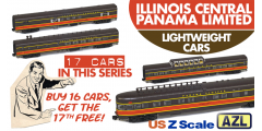 AZL IC-PANAMA-17 | 17-Car Illinois Central Panama Limited Lightweight Passenger Set