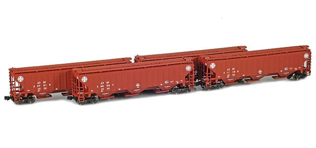 AZL 90923-1 PS-2 Covered Hopper ATSF (Brown w/Cross logo) | 4-Car Set