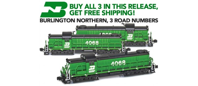 AZL BN-3 Burlington Northern RS-3 Locomotives | Buy 3, Get Free Shipping