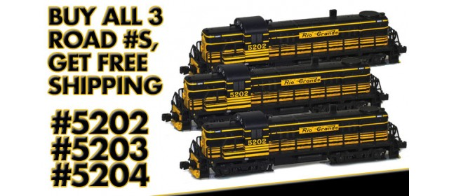 AZL RIO-3 D&RGW RS-3 Locomotives | Buy 3, Get Free Shipping