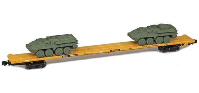 AZL 911010-5O TTX 89' Flat Car w/ Z-Panzer (1) M1126 / (1) M113 Loads   Olive #992420
