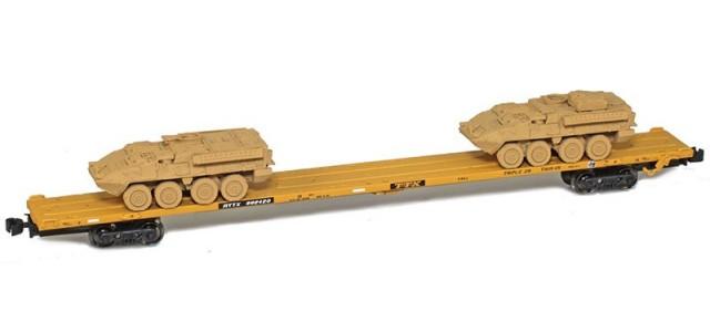 AZL 911010-5S TTX 89' Flat Car w/ Z-Panzer (1) M1126 / (1) M113 Loads   Sand #992420