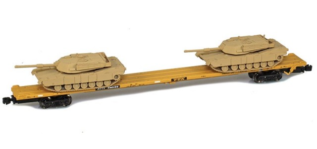 AZL 911010-6S RTTX 89' Flat Car w/ Z-Panzer (2) M1Loads   Sand #992422