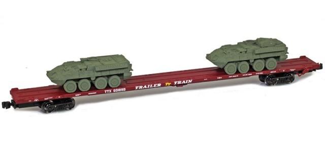 AZL 911020-2O TTX 89' Flat Car w/ Z-Panzer (1) M1126 / (1) M1134 Loads   Olive #601899