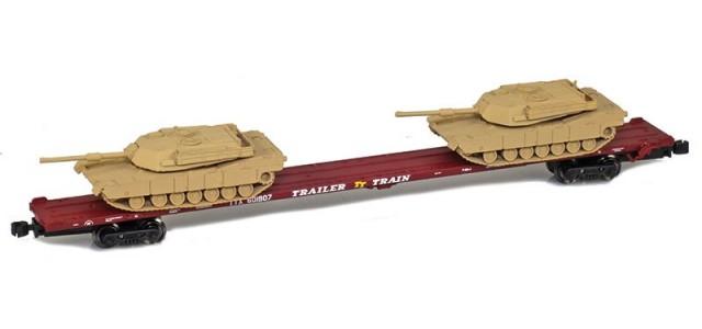 AZL 911020-3S TTX 89' Flat Car w/ Z-Panzer (2) M1 Loads   Sand #601907
