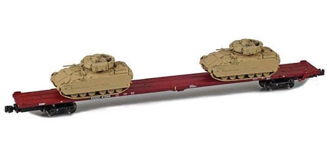 AZL 911023-2 DODX 89' Flat Car w/ Z-Panzer (2) M2A2 Loads   Sand #41076