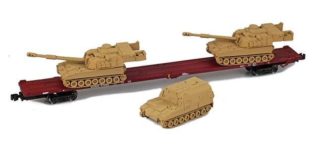 AZL 911023-2S DODX 89' Flat Car w/ Z-Panzer (2) M109 / (1) M992 Loads   Sand #41076