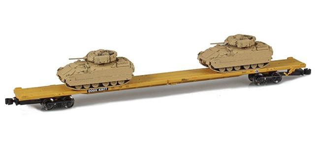 AZL 911024-2 DODX 89' Flat Car w/ Z-Panzer (2) M2A2 Loads   Sand #42087