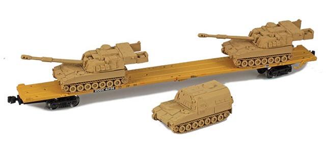 AZL 911024-5S DODX 89' Flat Car w/ Z-Panzer (2) M109 / (1) M992 Loads   Sand #42100