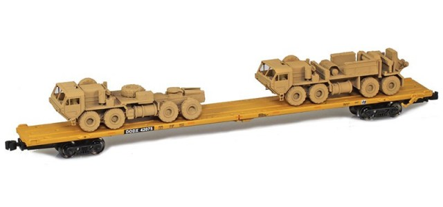 AZL 911024-6S DODX RTTX 89' Flat Car w/ Z-Panzer (1) M983 / (1) M984 Loads   Sand #42075