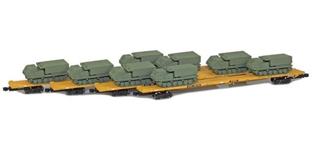 AZL 901510-5OB RTTX 89' Flat Cars w/ Z-Panzer (8) M270 Loads   Olive   4-Car Set