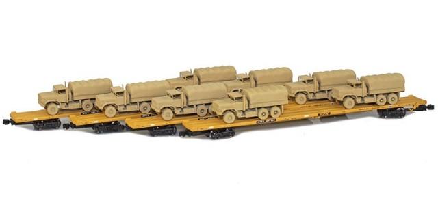 AZL 901510-5SA RTTX 89' Flat Cars w/ Z-Panzer (8) M923 Loads   Sand   4-Car Set