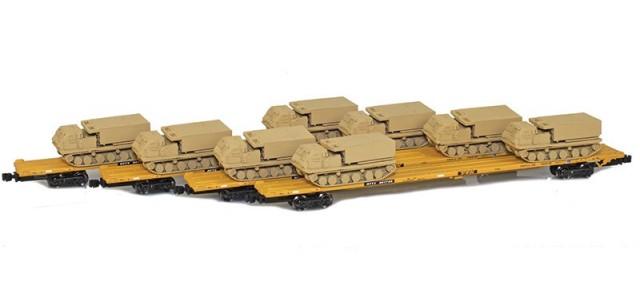 AZL 901510-5SB RTTX 89' Flat Cars w/ Z-Panzer (8) M270 Loads   Sand   4-Car Set