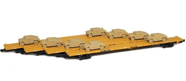 AZL 901510-5SC RTTX 89' Flat Cars w/ Z-Panzer (8) HMMWV Loads | Sand | 4-Car Set