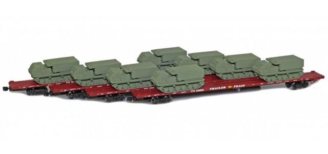 AZL 901510-6OB RTTX 89' Flat Cars w/ Z-Panzer (8) M270 Loads   Olive   4-Car Set