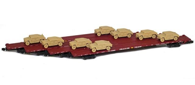 AZL 901510-6SC RTTX 89' Flat Cars w/ Z-Panzer (8) HMMWV Loads | Sand | 4-Car Set