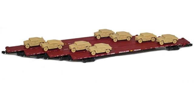 AZL 901510-6SC RTTX 89' Flat Cars w/ Z-Panzer (8) HMMWV Loads   Sand   4-Car Set
