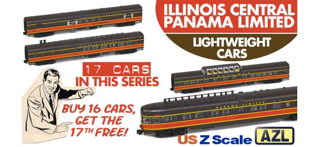 AZL IC-PANAMA-17 | 17-Car Illinois Central Panama Limited Lightweight Passenger Set