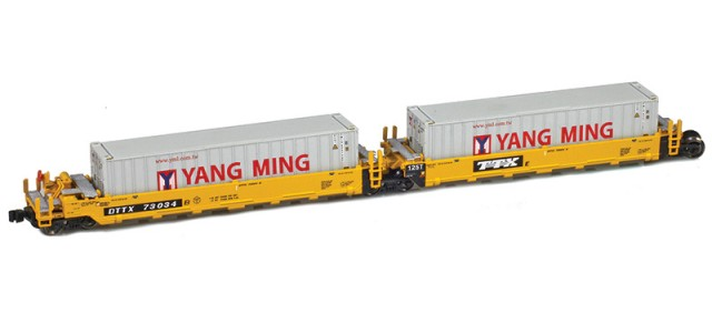 AZL 906502-4YA DTTX (Old TTX Logo) MAXI-I Set 73029 w/5 Yang Ming containers